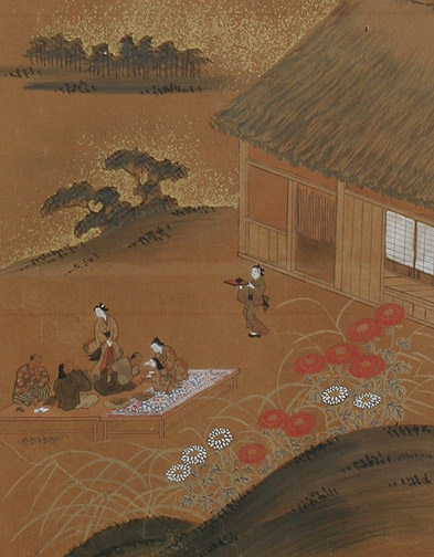 6-Fold Screen: Landscape and Villagers(Japanese Screen)