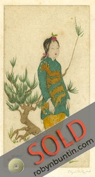Oriental Girl & Pine Tree by Elyse Ashe Lord