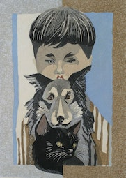 Boy with Dog and Cat  by Junichiro Sekino