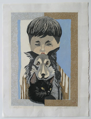 Boy with Dog and Cat  by Junichiro Sekino(Japanese Print)