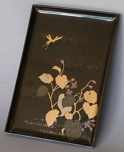 Lacquer Tray with Flower & Grasshopper Design(Japanese Lacquer)