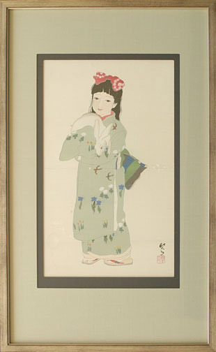 Young Girl with Rabbit(Japanese Print)