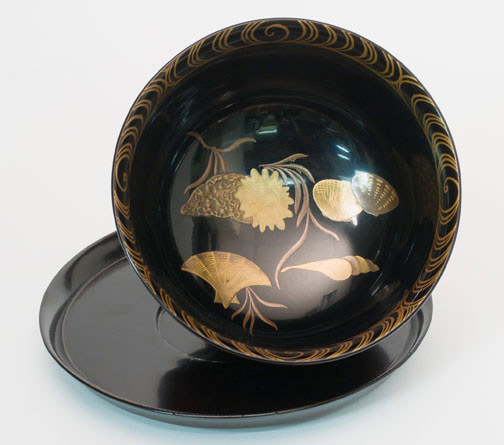 Lacquer Bowl and Saucer(Japanese Lacquer)