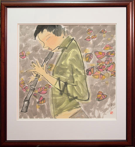 Lin's Flute by H. H. Wong 黃可鏗(Chinese Painting/Drawing)