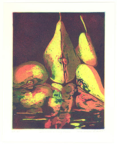 Two and a Half Pears by Carolyn Witschonke(American Print)