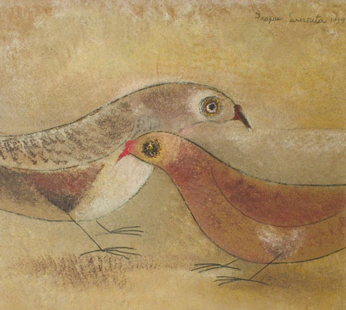 Doves by Prapun Srisouta(Southeast Asian Painting/Drawing)