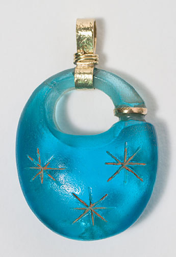 Thai Blue Glass Pendant(Southeast Asian Jewelry)