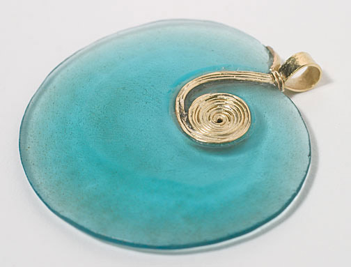 Ancient Thai Blue Glass Pendant with Gold Chain(Southeast Asian Jewelry)