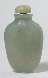 Jade Snuff Bottle of Magu and Daoist Immortal