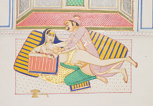 Loving Couple on the Cushions(Indian Painting/Drawing)