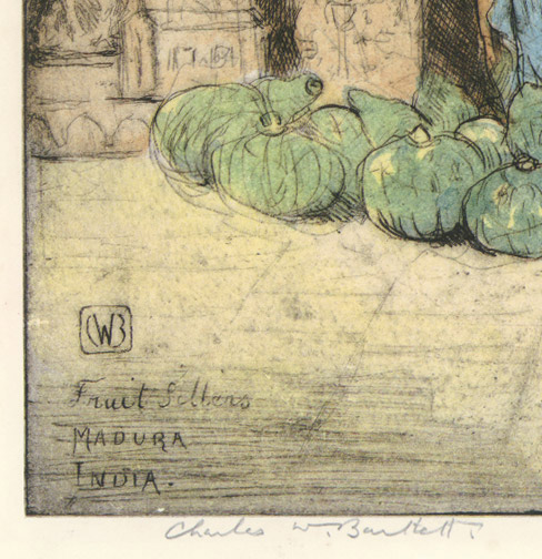 Fruit Sellers, Madura, India (22/75) by Charles W. Bartlett(Indian Print)