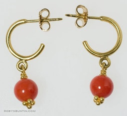 Red Coral Hoop Earrings by Tomi