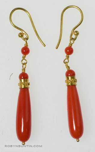 Coral Drop Earrings by Tomi(Hawaiian Jewelry)