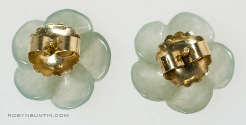 Jadeite Flower Earrings by Tomi(Hawaiian Jewelry)