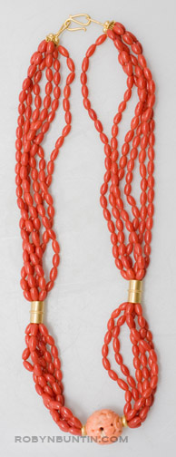 6 Strand Coral Necklace by Tomi(Hawaiian Jewelry)
