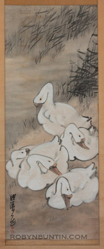 5 Geese(Chinese Scroll)