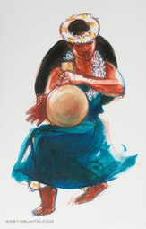 Hula Print #4 - with Gourd (11/250) by Judith Kunzle